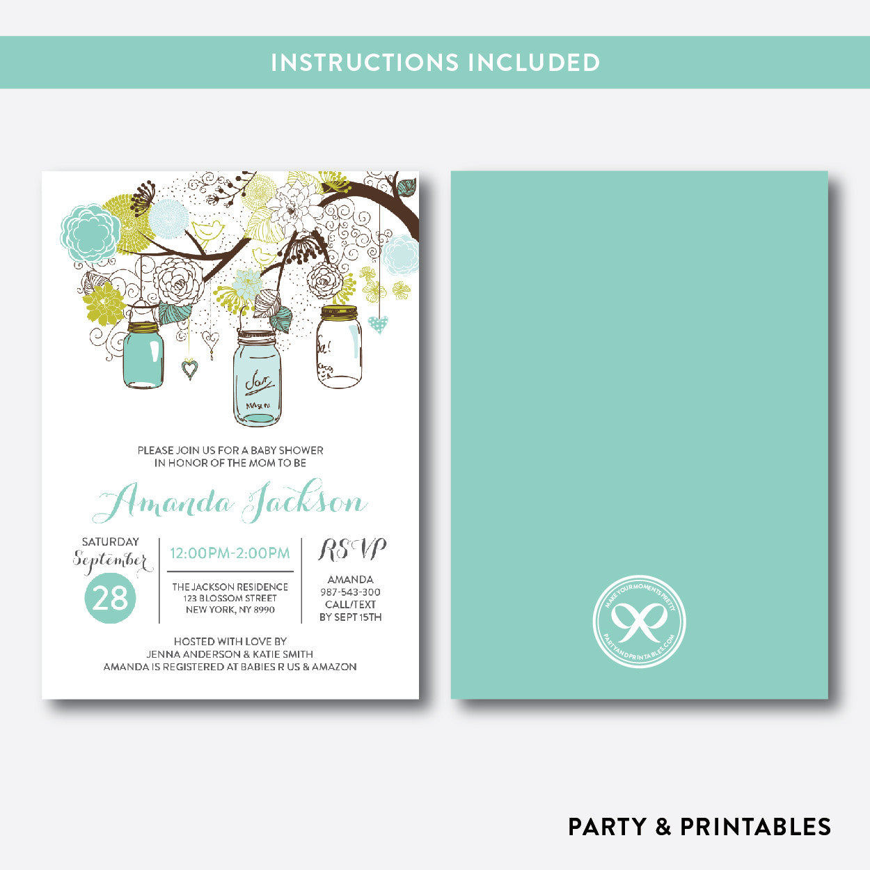 Floral Mason Jar Baby Shower Invitation / Editable / Instant Download (SBS.88), invitation - Party and Printables