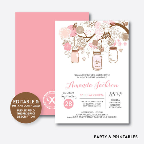 Floral Mason Jar Pink Baby Shower Invitation / Editable / Instant Download (SBS.89)