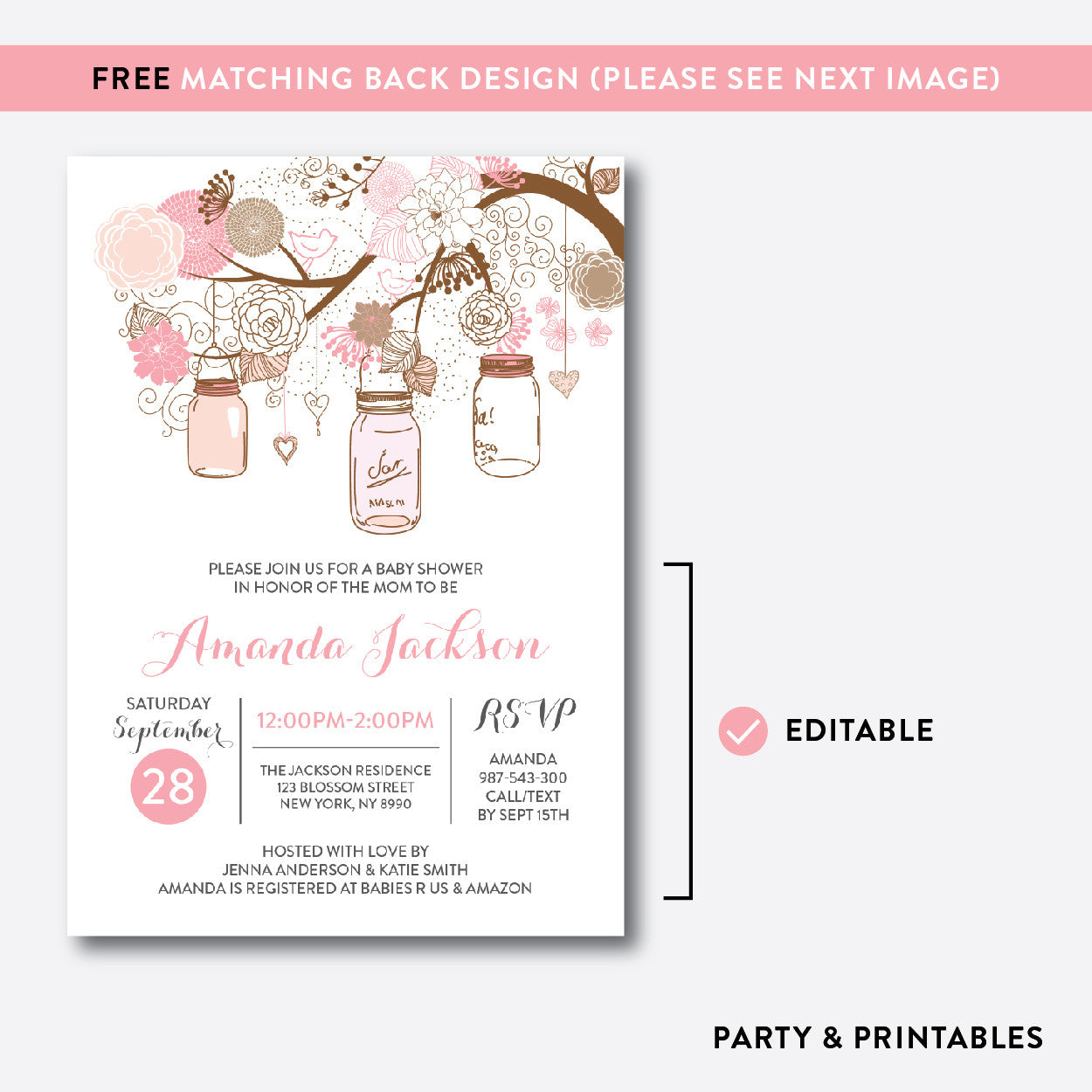 Floral Mason Jar Baby Shower Invitation / Editable / Instant Download (SBS.89), invitation - Party and Printables