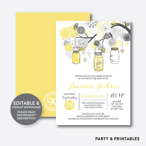 Floral Mason Jar Yellow Baby Shower Invitation / Editable / Instant Download (SBS.90)