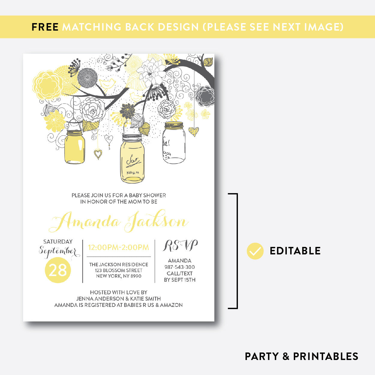 Floral Mason Jar Baby Shower Invitation / Editable / Instant Download (SBS.90), invitation - Party and Printables