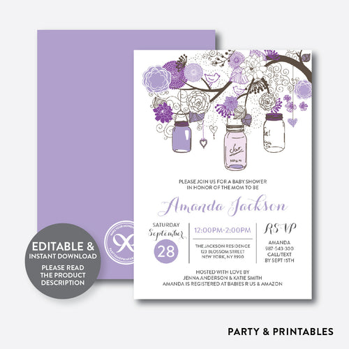 Floral Mason Jar Purple Baby Shower Invitation / Editable / Instant Download (SBS.91)
