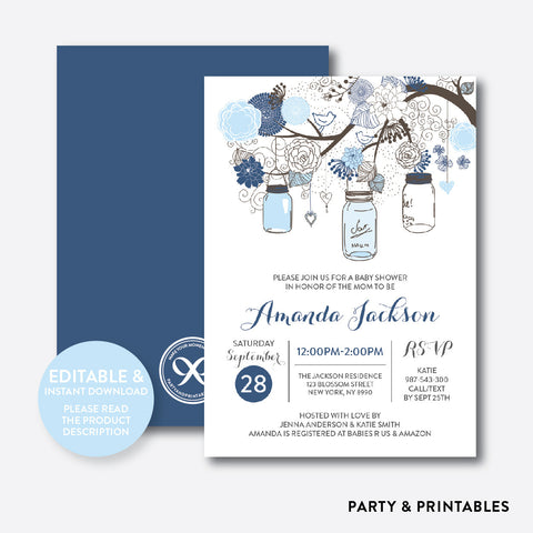 Floral Mason Jar Blue Baby Shower Invitation / Editable / Instant Download (SBS.92)