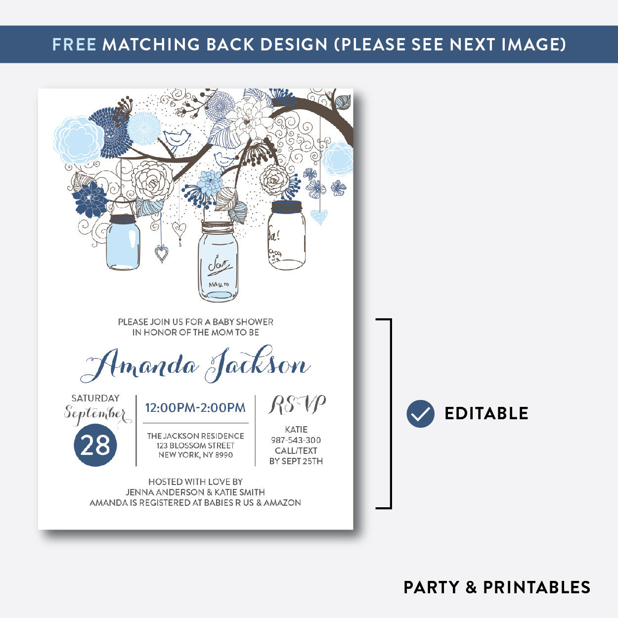 Floral Mason Jar Baby Shower Invitation / Editable / Instant Download (SBS.92), invitation - Party and Printables