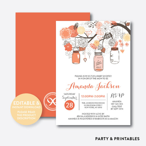 Floral Mason Jar Orange Baby Shower Invitation / Editable / Instant Download (SBS.93)