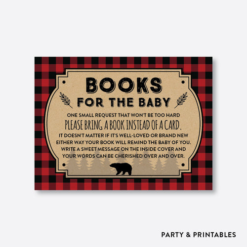 Baby shower invitation inserts party and printables lumberjack books for the baby non personalized instant download sbs95 filmwisefo