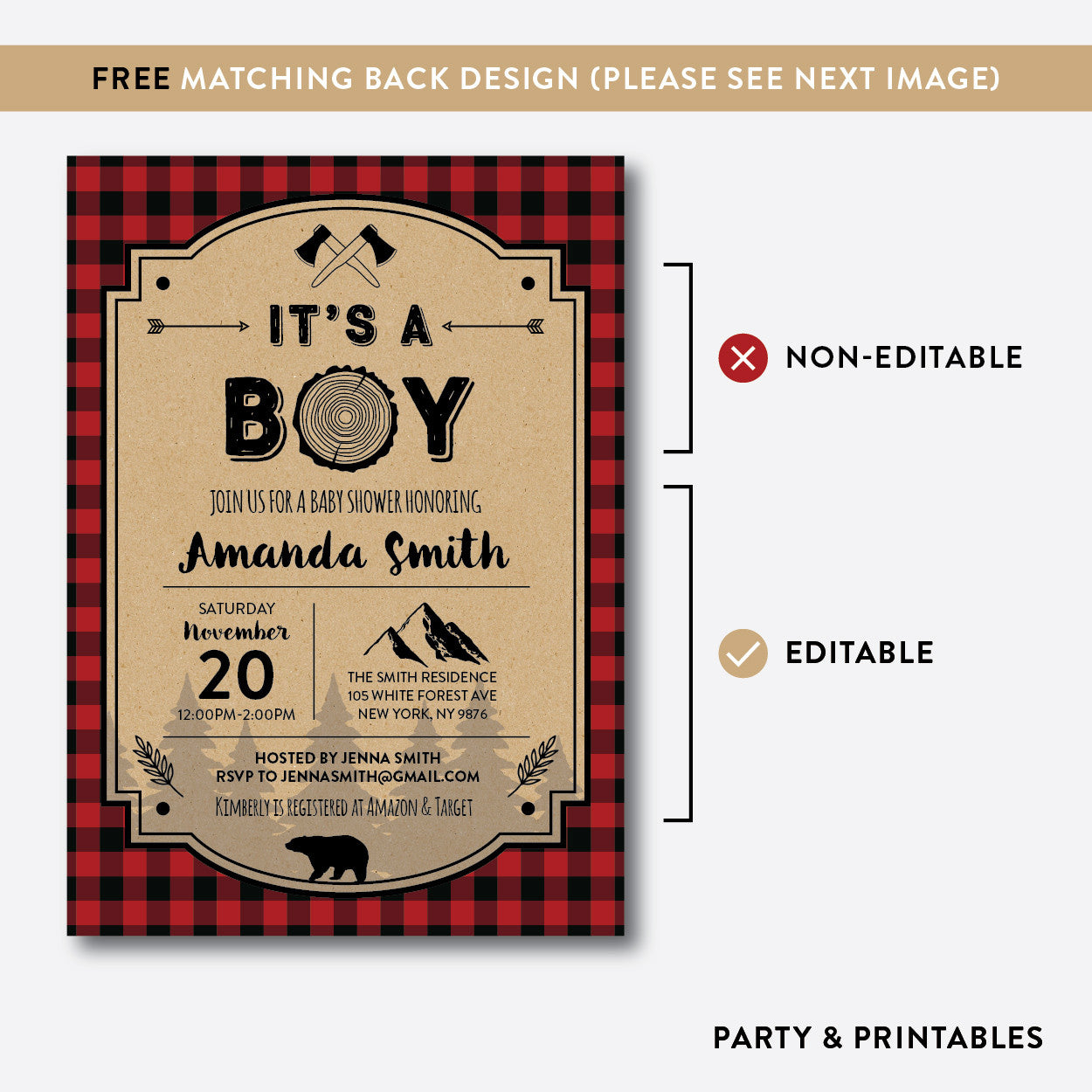 Lumberjack Baby Shower Invitation / Editable / Instant Download (SBS.95)