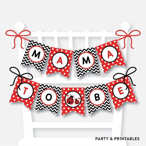 Ladybug Chair Banner / Baby Shower Banner / Non-Personalized / Instant Download (SBS.96)