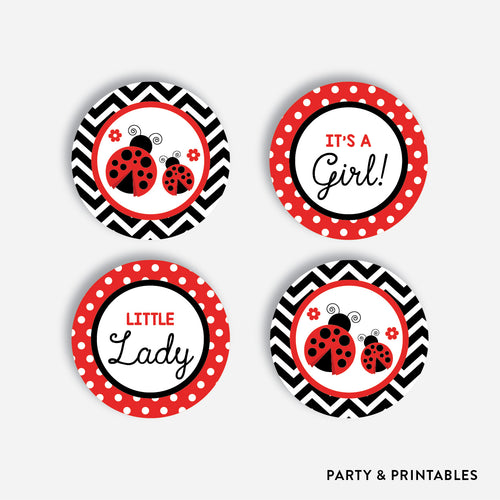 Ladybug Cupcake Toppers / Non-Personalized / Instant Download (SBS.96)
