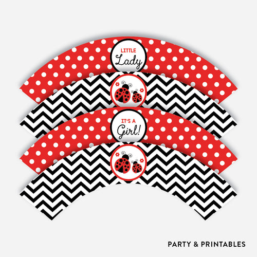 Ladybug Cupcake Wrappers / Non-Personalized / Instant Download (SBS.96)