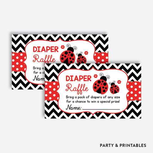 Ladybug Diaper Raffle / Non-Personalized / Instant Download (SBS.96)
