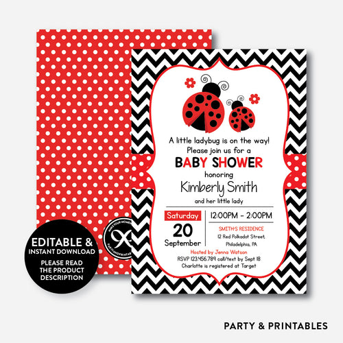 Ladybug Baby Shower Invitation / Editable / Instant Download (SBS.96)