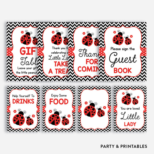 Ladybug Party Signs / Non-Personalized / Instant Download (SBS.96)