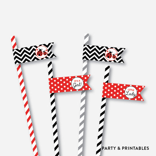 Ladybug Straw Flags / Non-Personalized / Instant Download (SBS.96)