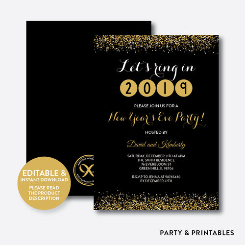 New Years Eve Party Invitation / Editable / Instant Download (SHI.01)