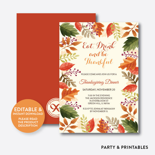 Thanksgiving Dinner Invitation / Editable / Instant Download (SHI.02)