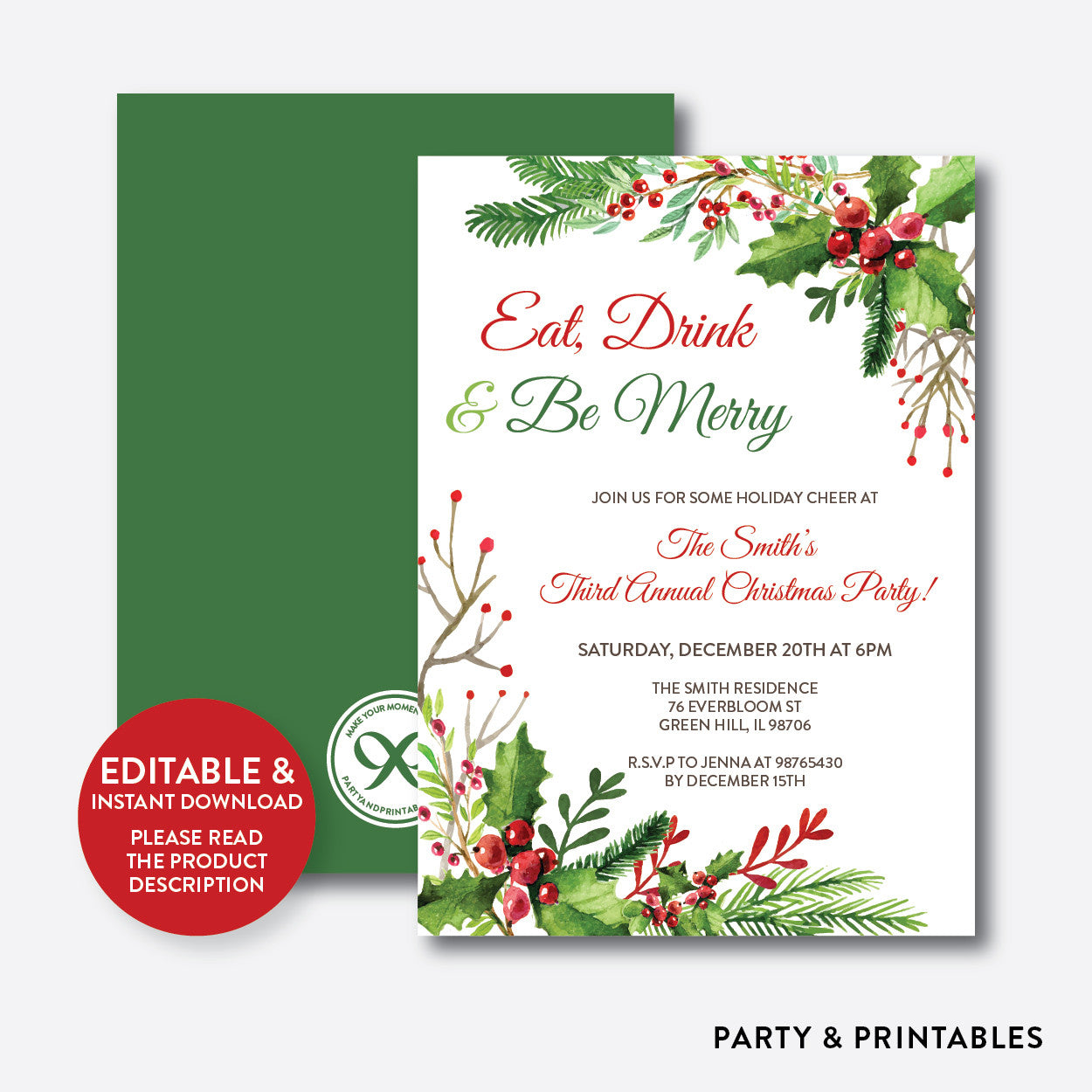Eat, Drink and Be Merry Christmas Invitation / Editable / Instant Download (SHI.03), invitation - Party and Printables