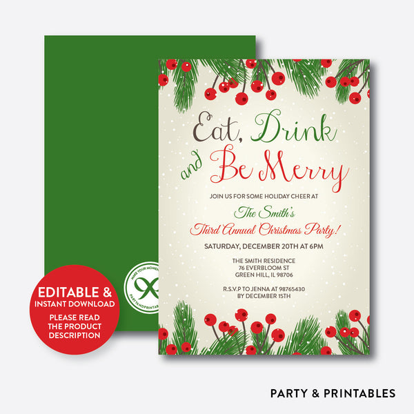 Eat, Drink and Be Merry Christmas Invitation / Editable / Instant Download (SHI.04), invitation - Party and Printables