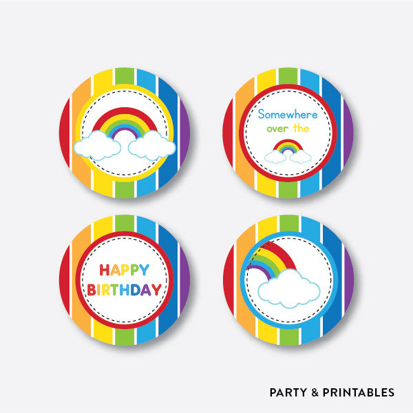 Rainbow Cloud Cupcake Toppers / Non-Personalized / Instant Download (SKB.02), party printables - Party and Printables