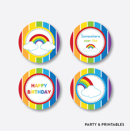 Rainbow Cloud Cupcake Toppers / Non-Personalized / Instant Download (SKB.02)