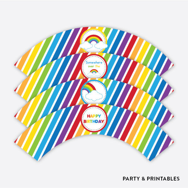 Rainbow Cloud Cupcake Wrappers / Non-Personalized / Instant Download (SKB.02), party printables - Party and Printables