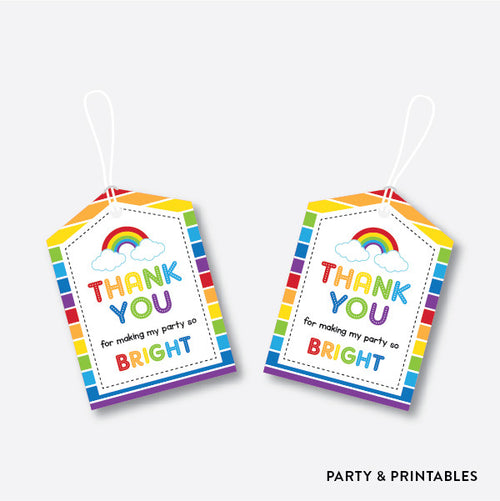 Rainbow Cloud Favor Tags / Non-Personalized / Instant Download (SKB.02)