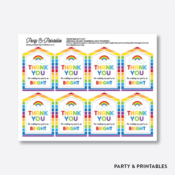 Rainbow Cloud Favor Tags / Non-Personalized / Instant Download (SKB.02), party printables - Party and Printables