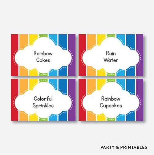 Rainbow Cloud Food Labels / Editable / Instant Download (SKB.02)