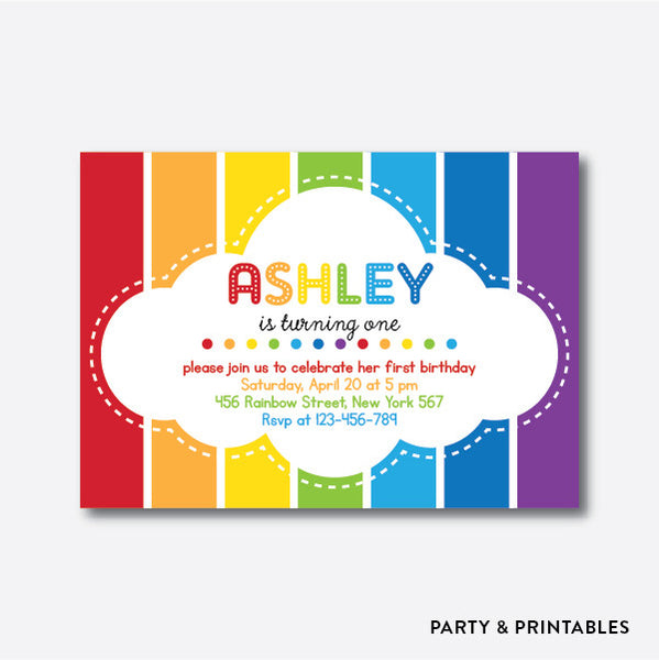 Rainbow Cloud Kids Birthday Invitation / Personalized (SKB.02), invitation - Party and Printables