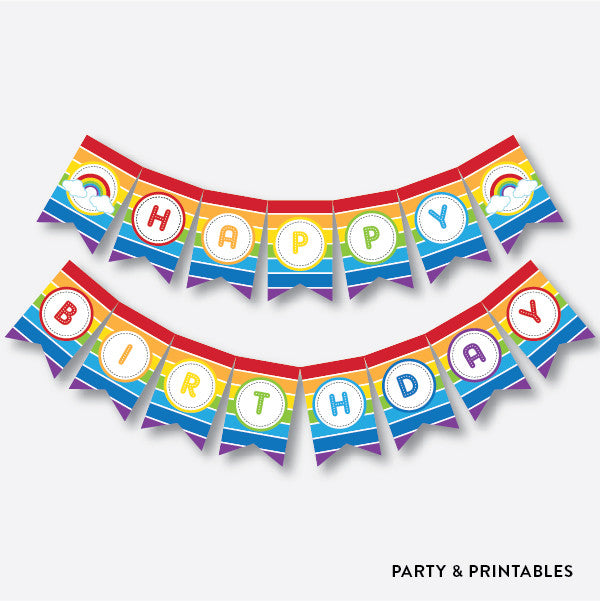 Rainbow Cloud Party Banner / Happy Birthday Banner / Non-Personalized / Instant Download (SKB.02), party printables - Party and Printables