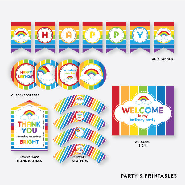 Rainbow Cloud Standard Kids Birthday Party Package / Non-Personalized / Instant Download (SKB.02), party package - Party and Printables