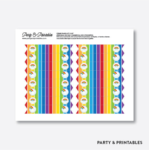 Rainbow Cloud Straw Flags / Non-Personalized / Instant Download (SKB.02)