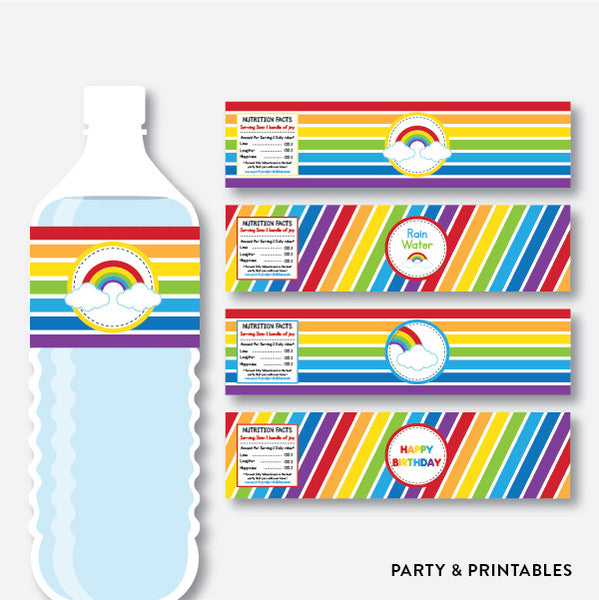 Rainbow Cloud Water Bottle Labels / Non-Personalized / Instant Download (SKB.02), party printables - Party and Printables