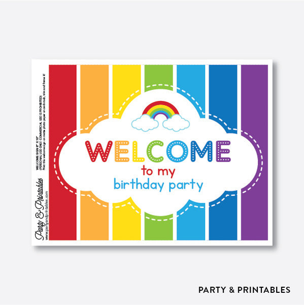 Rainbow Cloud Welcome Sign / Non-Personalized / Instant Download (SKB.02), party printables - Party and Printables