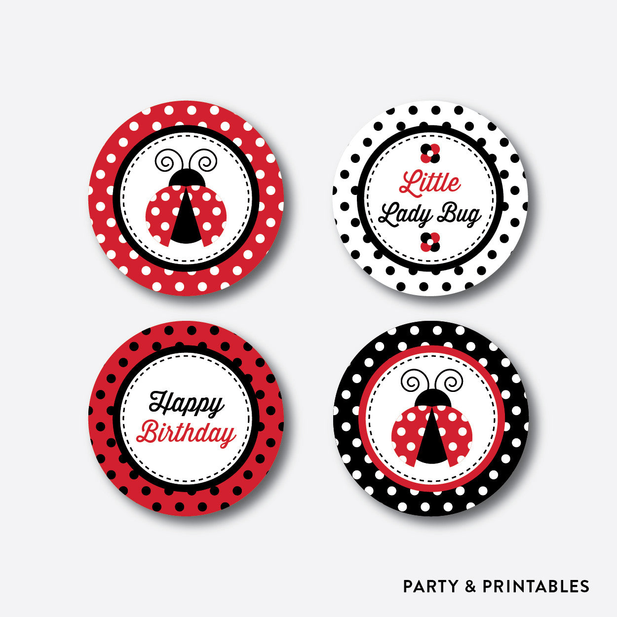 Ladybug Cupcake Toppers / Non-Personalized / Instant Download (SKB.03), party printables - Party and Printables
