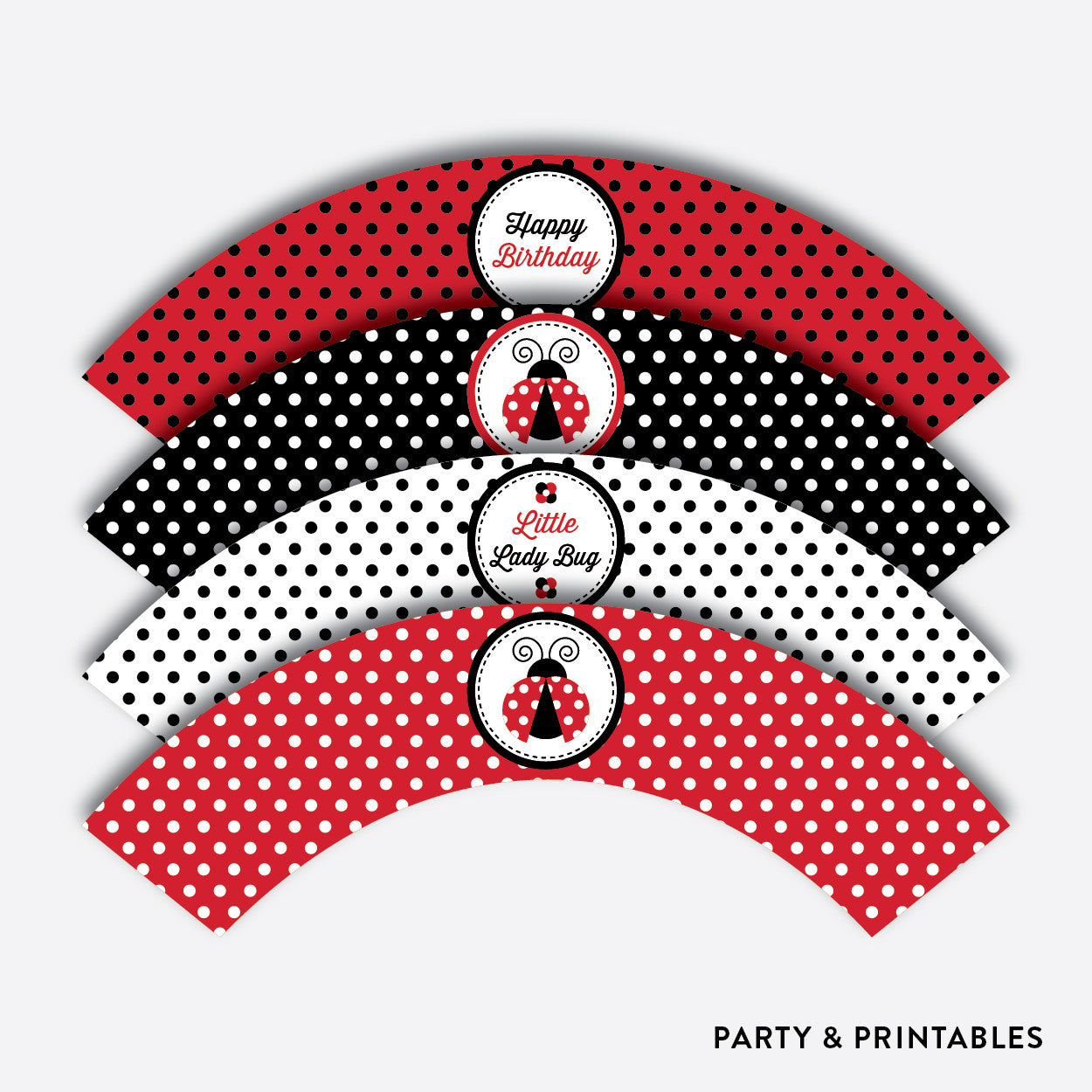 Ladybug Cupcake Wrappers / Non-Personalized / Instant Download (SKB.03), party printables - Party and Printables
