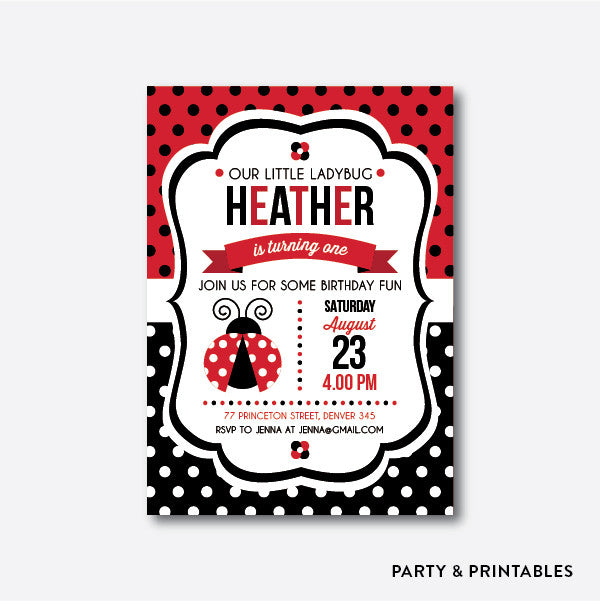 Lady Bug Kids Birthday Invitation / Personalized (SKB.03)