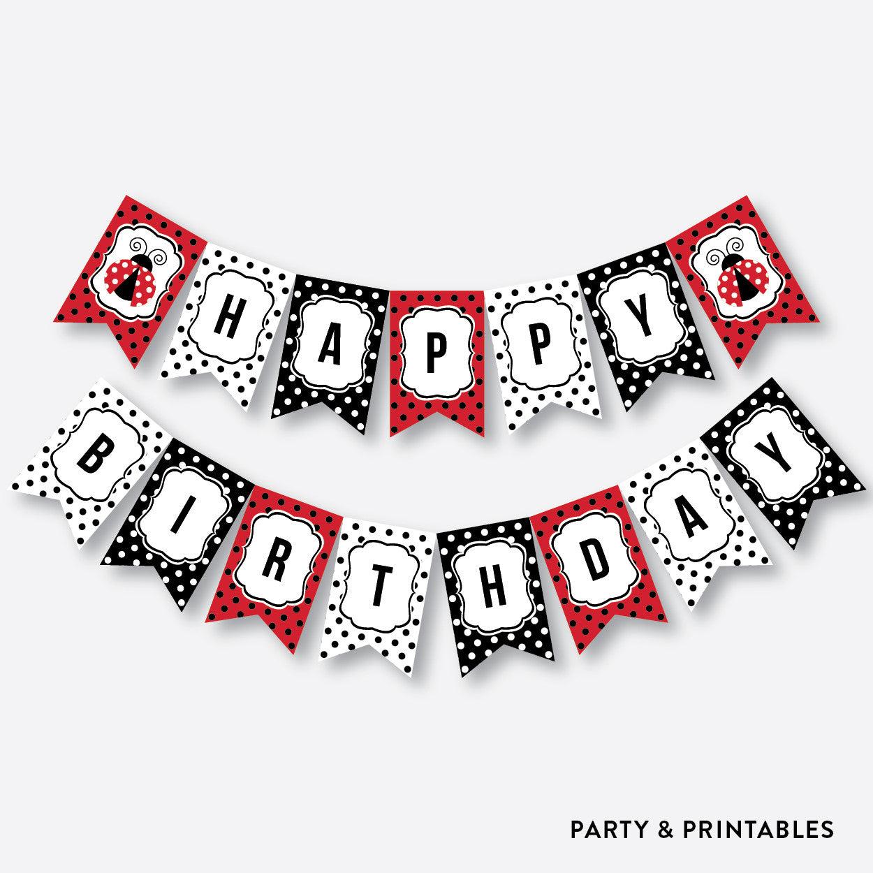 Lady Bug Party Banner / Happy Birthday Banner / Non-Personalized / Instant Download (SKB.03), party printables - Party and Printables