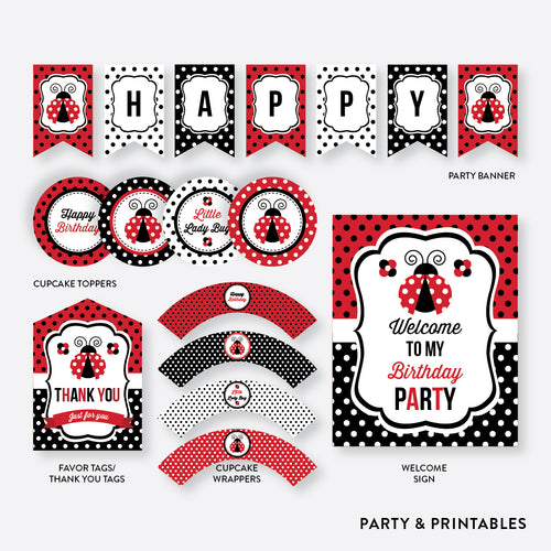 Lady Bug Standard Kids Birthday Party Package / Non-Personalized / Instant Download (SKB.03)