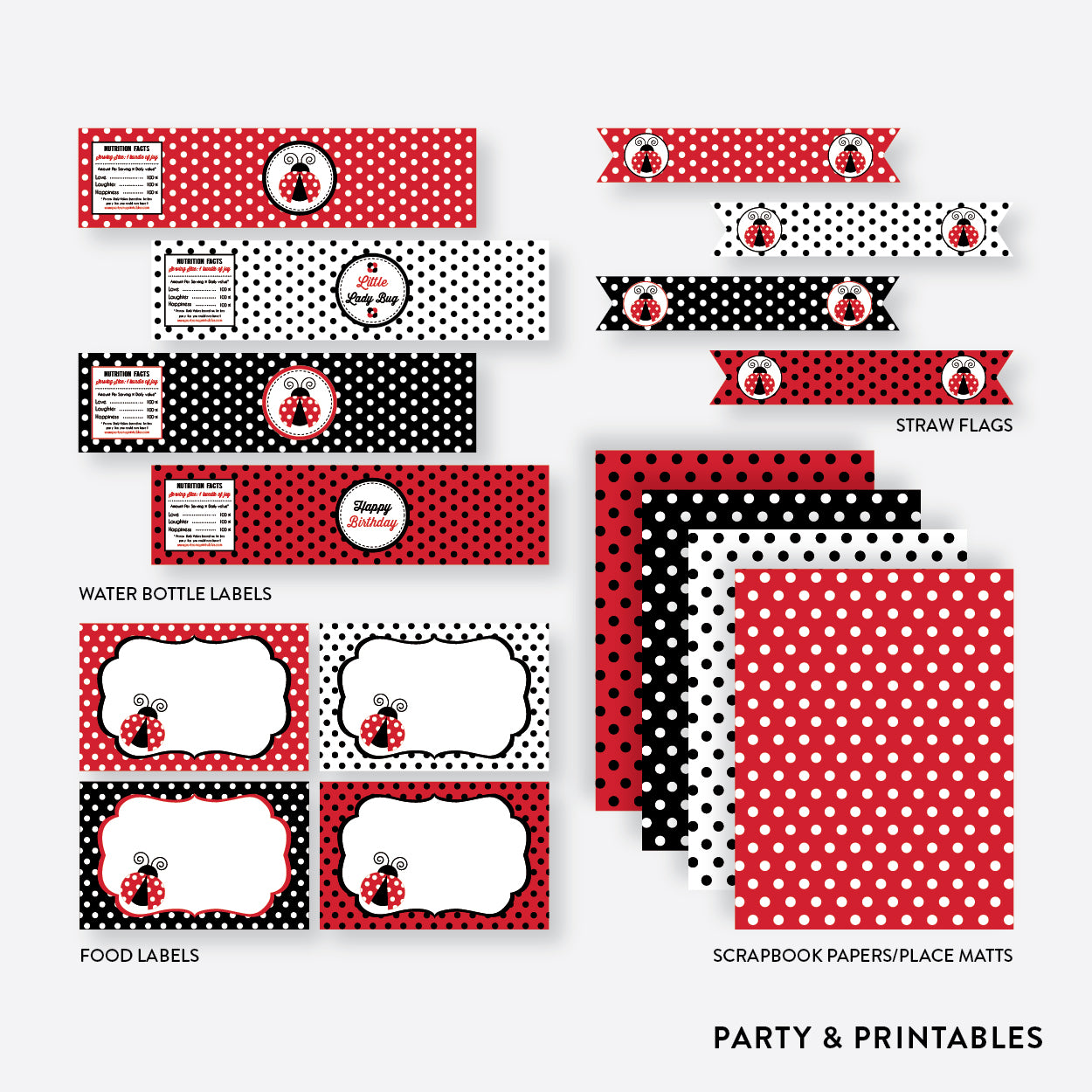 Ladybug Standard Kids Birthday Party Package / Non-Personalized / Instant Download (SKB.03), party package - Party and Printables