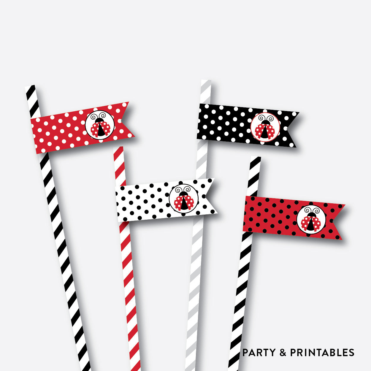 Ladybug Straw Flags / Non-Personalized / Instant Download (SKB.03), party printables - Party and Printables