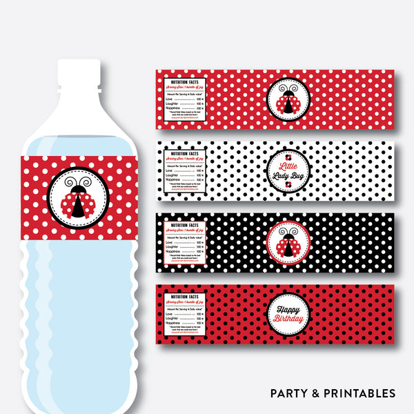 Ladybug Water Bottle Labels / Non-Personalized / Instant Download (SKB.03)
