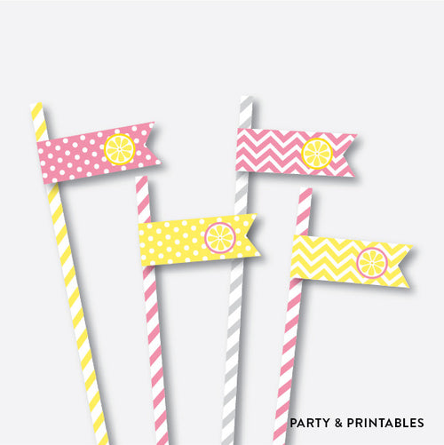 Lemonade Stand Straw Flags / Non-Personalized / Instant Download (SKB.37)