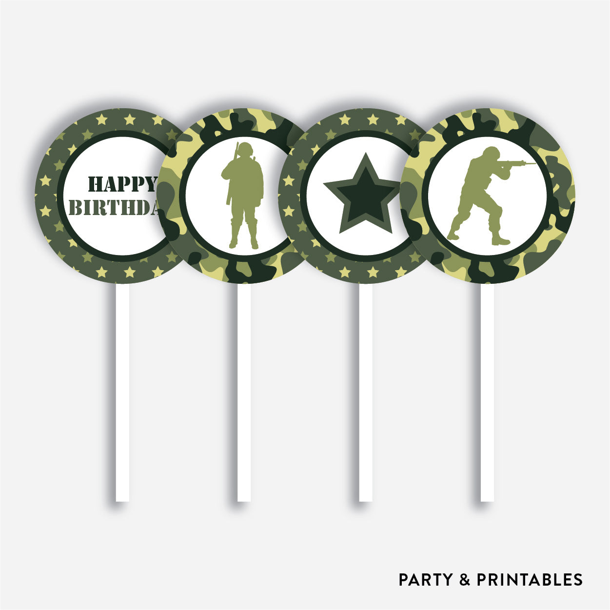 Camouflage Cupcake Toppers / Non-Personalized / Instant Download (SKB.06), party printables - Party and Printables
