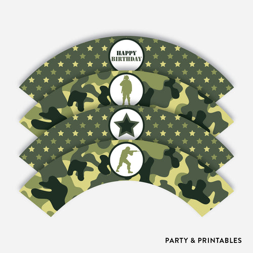 Camouflage Cupcake Wrappers / Non-Personalized / Instant Download (SKB.06)