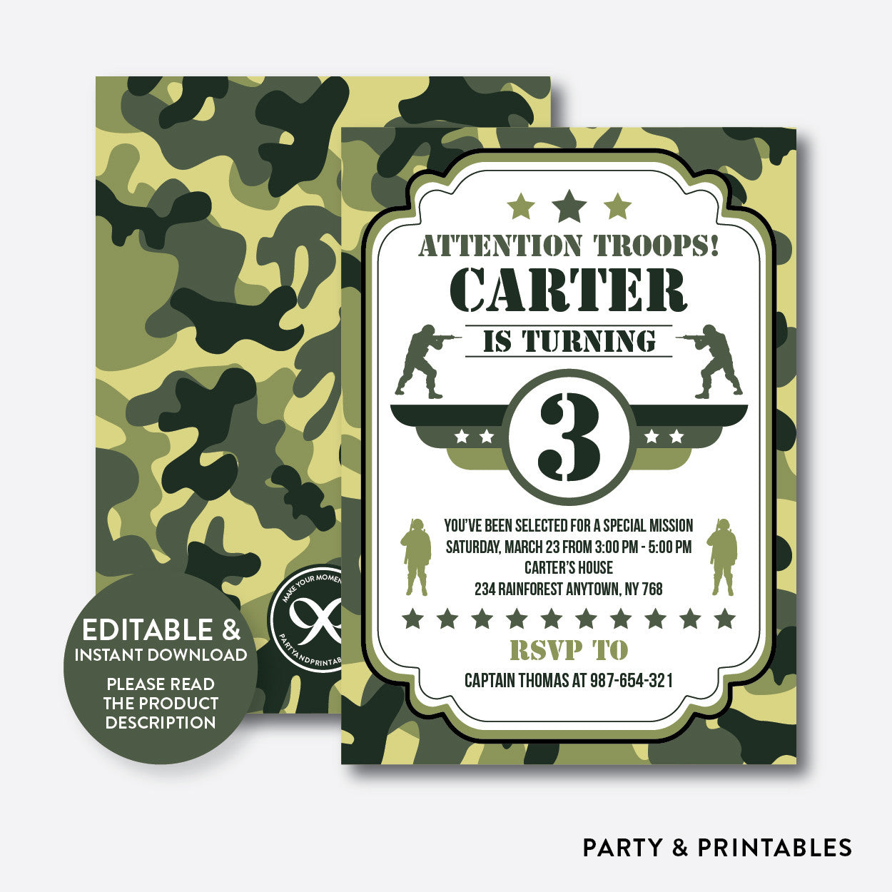 Camo Kids Birthday Invitation / Editable / Instant Download (SKB.06), invitation - Party and Printables