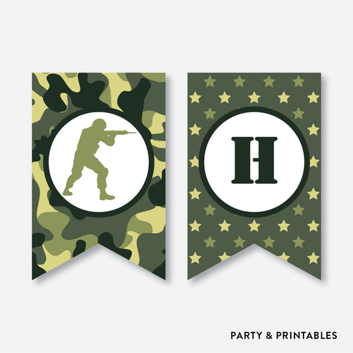 Camouflage Party Banner / Happy Birthday Banner / Non-Personalized / Instant Download (SKB.06)