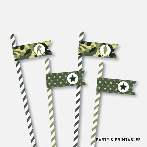 Camouflage Straw Flags / Non-Personalized / Instant Download (SKB.06)