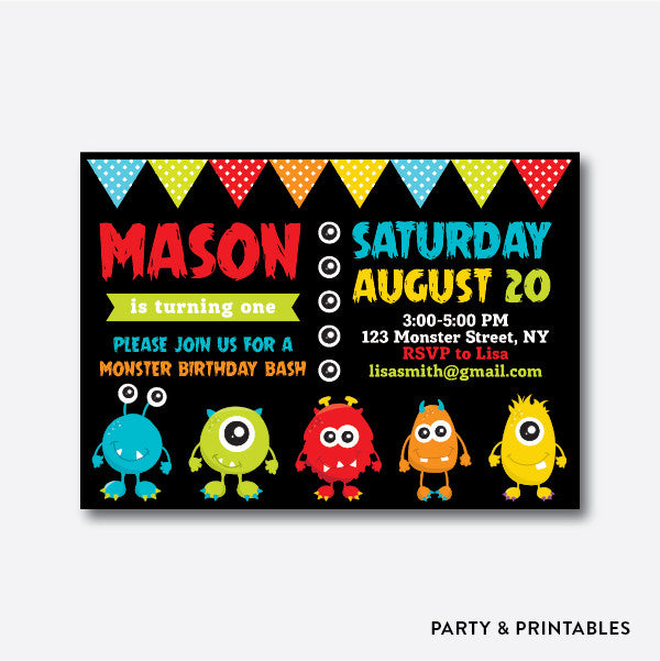 Monster Black Kids Birthday Invitation / Personalized (SKB.08), invitation - Party and Printables