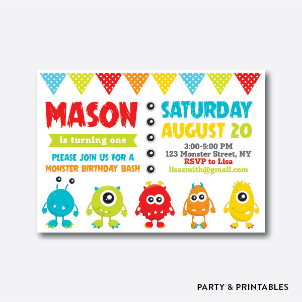 Monster White Kids Birthday Invitation / Personalized (SKB.09), invitation - Party and Printables